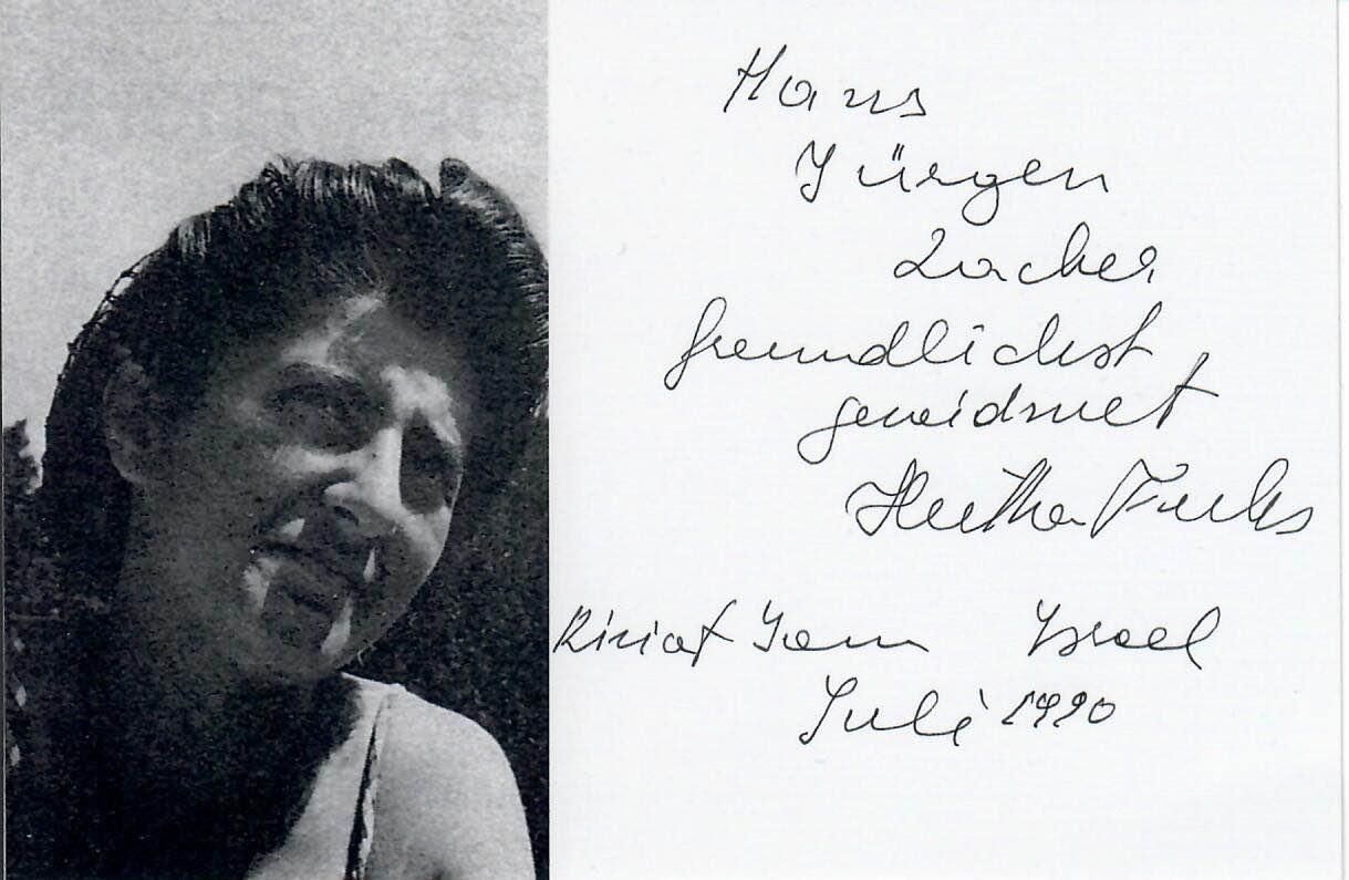 Widmung von Hertha Fuchs-Legeti für Hans-Jürgen Zacher